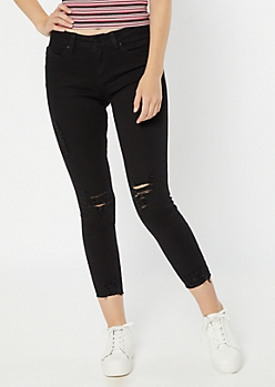 YMI Wanna Betta Butt Black Raw Cut Ankle Skinny Jeans