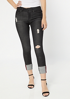 YMI Wanna Betta Butt Washed Black Cuffed Skinny Jeans