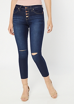 YMI Wanna Betta Butt Dark Wash Button Fly Skinny Jeans