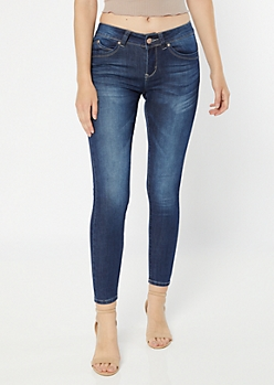 YMI Wanna Betta Butt Dark Wash Mid Rise Skinny Jeans
