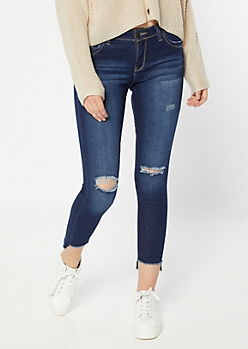 YMI Wanna Betta Butt Dark Wash High Low Ankle Jeans