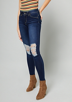 YMI Wanna Betta Butt Dark Wash Distressed Skinny Jeans