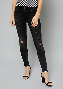 YMI Wanna Betta Butt Black Distressed Skinny Jeans