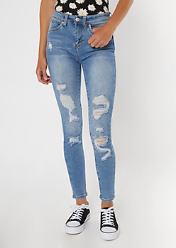 YMI Medium Wash High Waisted Distressed Throwback Jeggings