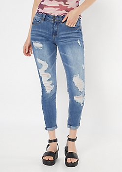 YMI Wanna Betta Butt Medium Wash Recycled Ankle Jeans