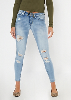YMI Light Wash Ripped Mid Rise Jeggings