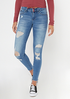 YMI Medium Wash Ripped Mid Rise Jeggings