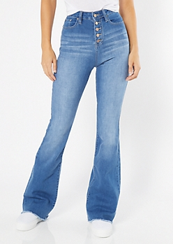 YMI Medium Wash Exposed Button Flare Jeans in Long