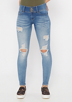 YMI Wanna Betta Butt Medium Wash Button Fly Skinny Jeans