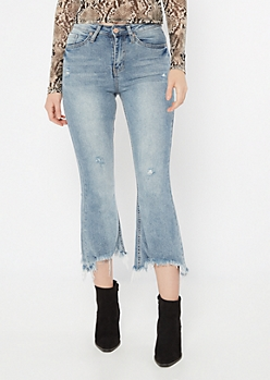 YMI Throwback Light Wash Raw Cut Flare Jeans