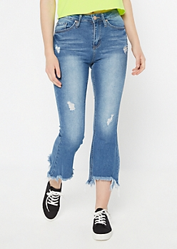 YMI Throwback Medium Wash Raw Cut Flare Jeans