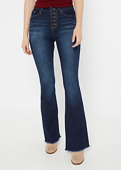 YMI Dark Wash Button Down Flare Jeans