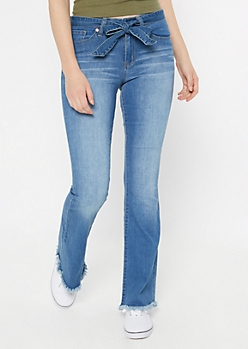 YMI Medium Wash Raw Cut Flare Jeans