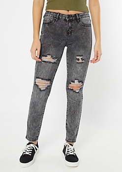 YMI Black Acid Wash Distressed Jeggings