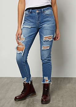 YMI Medium Wash Distressed Frayed Ankle Skinny Jeans