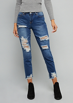 YMI Dark Wash Mid Rise Frayed Ankle Dream Jeans