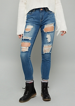 YMI Medium Wash Mid Rise Destroyed Dream Jeans