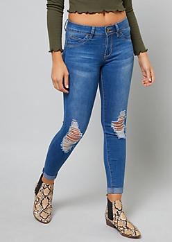 Medium Wash YMI Wanna Betta Butt Ankle Jeans