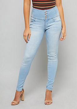 YMI Light Wash High Waisted Button Fly Shaping Jeans