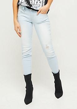YMI Wanna Betta Butt Light Wash Mid Rise Ankle Jeans