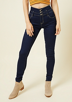 YMI Wanna Betta Butt Dark Wash High Waisted Triple Button Jeans