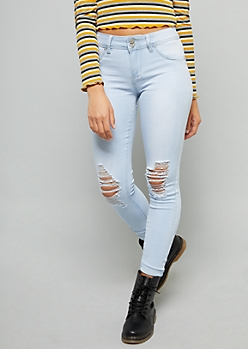 YMI Wanna Betta Butt Ultra Light Wash Distressed Ankle Jeans