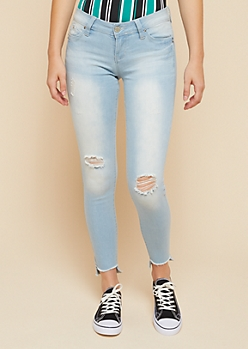 YMI Wanna Betta Butt Light Wash High Low Hem Skinny Jeans