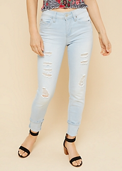 YMI Wanna Betta Butt Light Wash Distressed Skinny Jeans