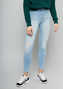 YMI Light Wash High Waisted Distressed Skinny Jeans