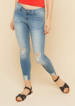 YMI Wanna Betta Butt Medium Wash Raw Hem Ankle Jeans
