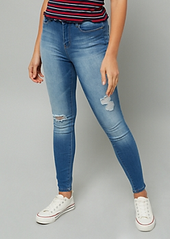 YMI Medium Wash High Waisted Distressed Skinny Jeans