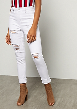 YMI White Distressed High Waisted Ankle Skinny Jeans