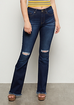 YMI Dark Wash Frayed Super Flare Jeans