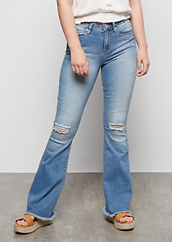 YMI Medium Wash Distressed Raw Cut Flare Jeans