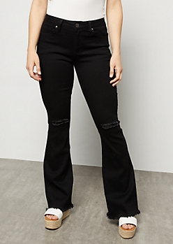 YMI Black Mid Rise Frayed Flare Jeans