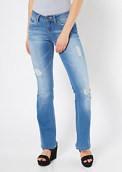 YMI Wanna Betta Butt Medium Wash Ripped Flare Jeans
