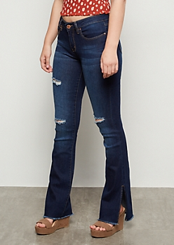 YMI Dark Wash Distressed Slit Side Flare Jeans