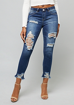 YMI Wanna Betta Butt Mid Rise Distressed Dream Ankle Jeans