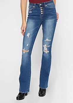 Medium Wash Ripped Button Front Flare Jeans
