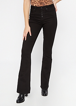 Black High Waisted Button Front Flare Jeans