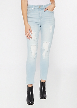 Light Wash Throwback High Waisted Slim Straight Jeans
