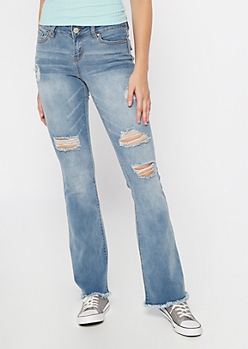 Medium Wash Ripped Frayed Skinny Flare Jeans
