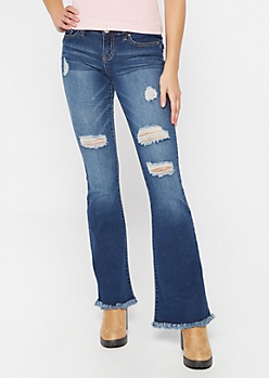 Dark Wash Ripped Frayed Skinny Flare Jeans