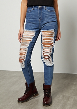 YMI Medium Wash High Waisted Distressed Raw Cut Ankle Jeans
