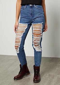 YMI Medium Wash High Waisted Distressed Raw Cut Ankle Jeans