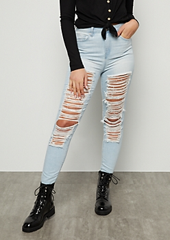 YMI Light Wash High Waisted Distressed Raw Cut Ankle Jeans