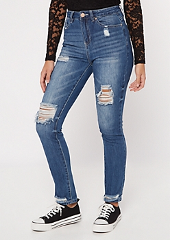 YMI Dream Medium Wash Distressed High Rise Jeggings