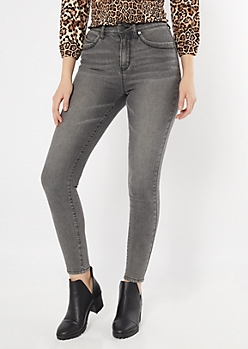 YMI Wanna Betta Butt Charcoal Mom Jeans