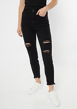 YMI Dream Black High Rise Frayed Ankle Jeans