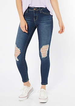 YMI Wanna Betta Butt Dark Wash Mid Rise Ripped Jeggings